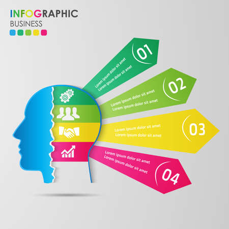 Infographics business concept on human head with business icon for sample. Design elements colorful tone. Vector illustration. Ilustração