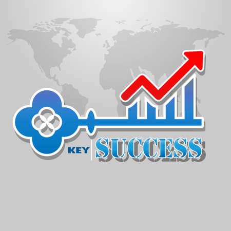 key of business success concept with red growing graph. Creative design graphic. Vector Illustration
