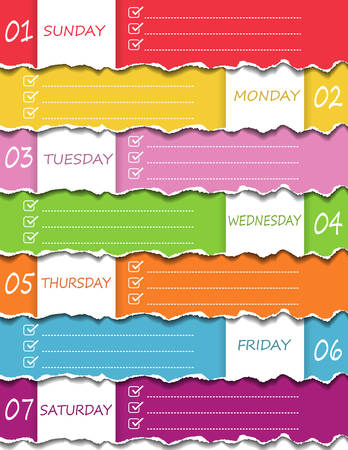 Colorful ripped paper with 7 days 1 week memory(Sunday,Monday,Tuesday,Wednesday,Thursday,Friday,Saturday). Note paper daily concept. Vector Illustration