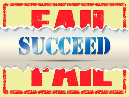 Fail to succeed concept with ripped paper.Vector Illustration