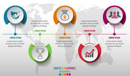 Business infographics circle with 5 step and business icons and world map in background,Abstract elements of diagram.Creative concept for infographic.Vector illustration. Çizim