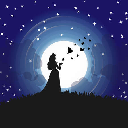 Silhouettes of princess and butterflies in full moon, Blue Night sky with stars. Vector illustration background.
