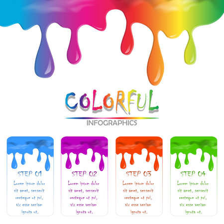Info-graphics of paint colorful liquid flowing and dripping on white isolate background with copy space. rainbow colors liquid flowing concept. background vector illustration.