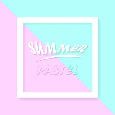 Summer pastel conception with text and frame. Vector illustration.