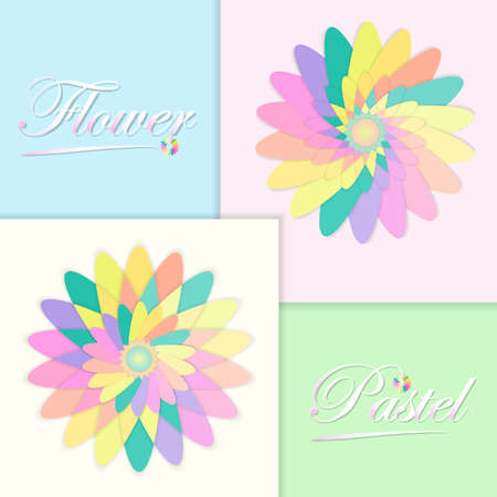 Paper flower in summer or spring with pastel tone. Pastel multi colored flower concept. Vector illustration