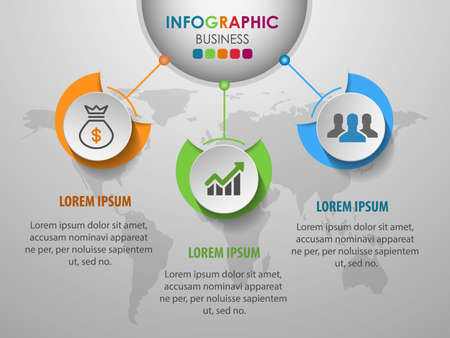 Business infographics circle with 3 step and business icons and world map in background,Abstract elements of diagram.Creative concept for infographic.Vector illustration.
