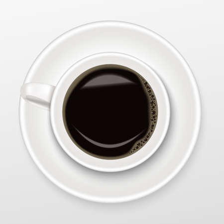 Realistic of hot black coffee in a white Cup of Coffee on saucer with black coffee, top view and isolated on white background, Realistic vector concept.  イラスト・ベクター素材