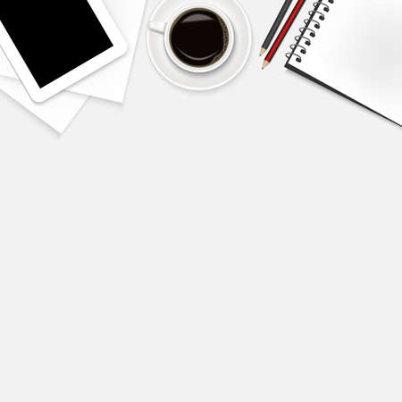 realistic of office background,coffee,notebook,tablet,pencil,paper on white desk with copy space. Isolate background. Realistic vector design illustration concept. Ilustração