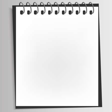 Realistic spiral blank notebook with back cover was opened on white deaktop with copy space,empty pages. Illustration vector.