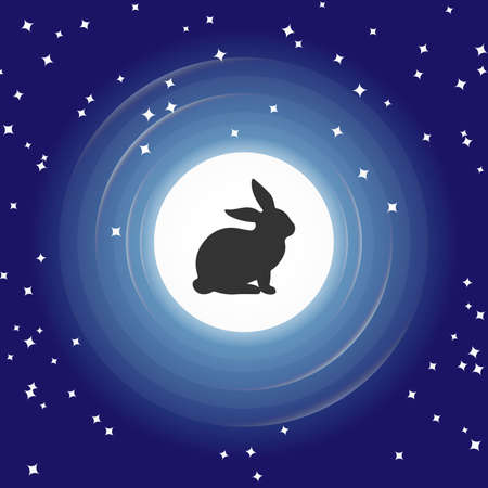 Silhouettes of rabbit in full moon, Blue Night sky with stars. Vector illustration background.