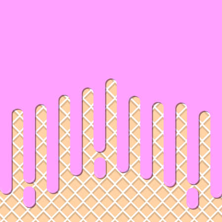 Flowing strawberry cream or Ice cream strawberry on milk wafer. Wafer and cream background. vector illustration background.