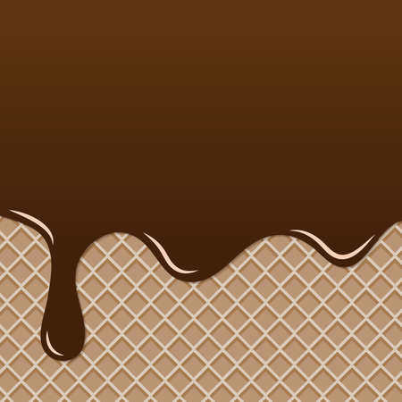 Realistic of Chocolate or Ice cream chocolate splash and melt flowing and dripping on waffle or wafer. Vector desert background concept. Texture background vector illustration.