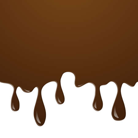 Realistic of Chocolate or Ice cream chocolate splash and melt flowing and dripping on white background. Vector desert background concept. Texture background vector illustration.