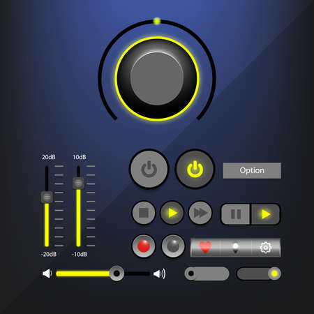 Music player interface or Audio player interface with control navigation panel. Modern design. Vector Illustration.