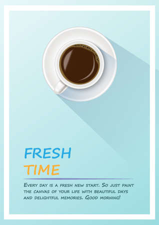 Coffee Poster. A realistic of cup of black coffee in coffee cup minimalist with sample text. Fresh time,Coffee time in morning concept. Vector Illustration.