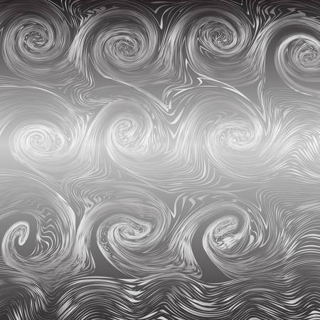 monochrome tone of wave spiral lines abstract background. Black and white Vector Illustration.