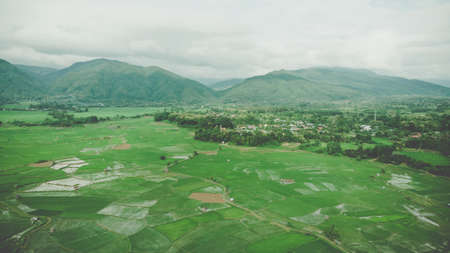 Terrace rice field aerial view in Nan,Thailand. Rainy season. Shot from drone.