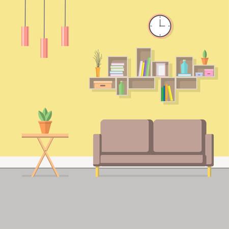 Living room interior background. Flat design.   イラスト・ベクター素材