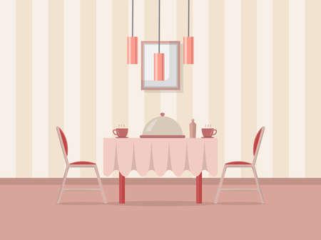 Dining room interior background. Flat design.