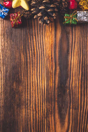 Christmas background, decorations of Christmas on wooden background