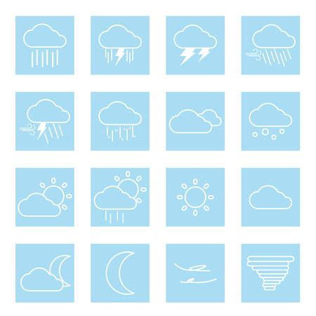 weather flat icons Vektoros illusztráció