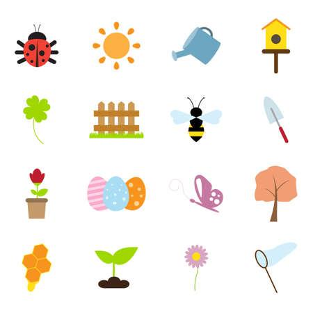 spring flat icons Illustration