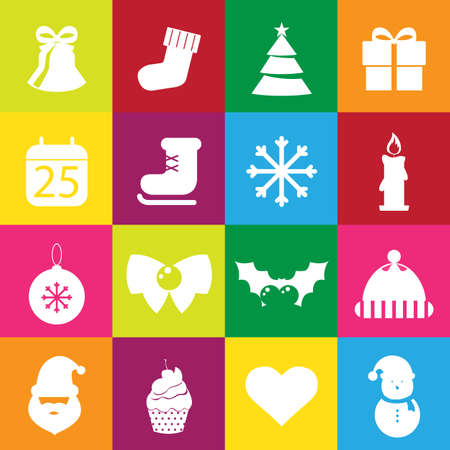 bear berry: Christmas flat Icons set