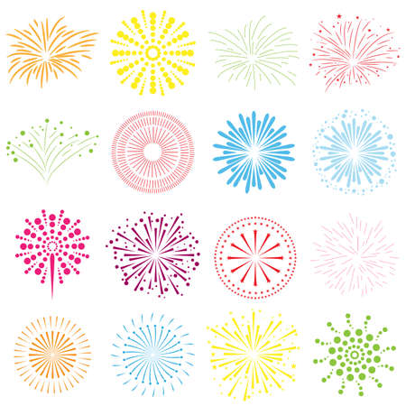 firework icons color Stock Photo