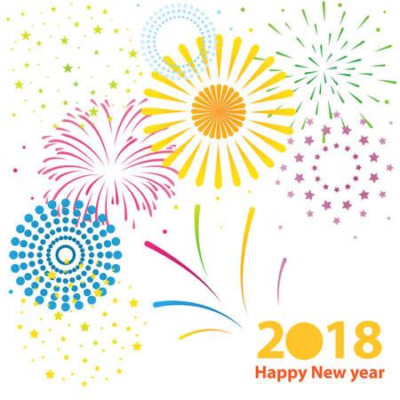 firework celebration, happy new year 2018 Stock Photo