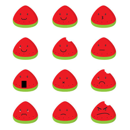 summer watermelon emoji vector 版權商用圖片
