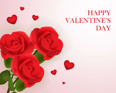 Love valentine's day red background wallpaper card with three roses Illustration