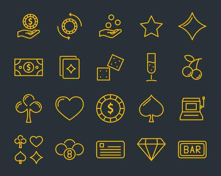 conjunto de icono de línea de casino vectorial, como juegos, póquer, cartas y más