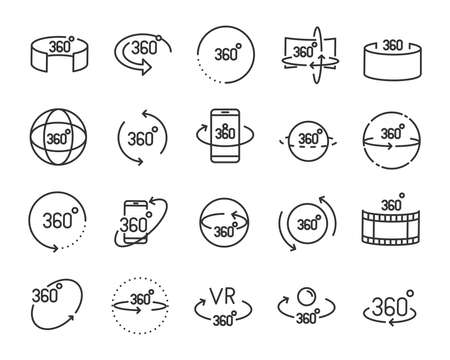 vr vector line icon set, such as 360degree, glasses, round Stockfoto - 104868795