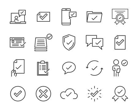 set of checkmark vector line icons, contains such as check, document and more Illustration