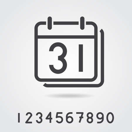 set of time relation vector line icon, such as calendar, reminder, day, year, event Illustration