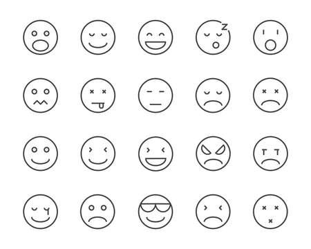set of emoji vector line icon