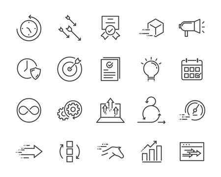 simple set of vector line icon, contain such lcon as speed, agile, boost, process, time and more 版權商用圖片 - 114858705