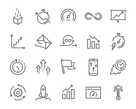 simple set of vector line icon, contain such lcon as speed, agile, boost, process, time and more 向量圖像