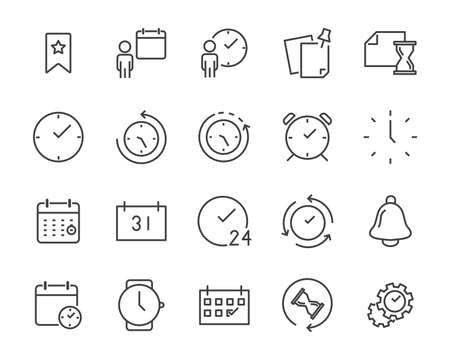 set of time relation vector line icon, such as calendar, reminder, day, year, event Çizim
