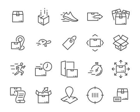Satz von sendenden Produktsymbolen, wie z. B. Lieferung, Post, Service, Versand, Transport, Box und mehr