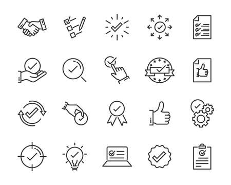 set of checkmark vector line icons, contains such as check, document and more 向量圖像