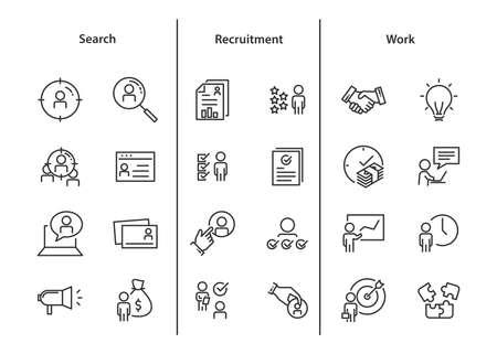 conjunto de iconos de trabajo, como trabajo, carrera, trabajo, búsqueda, persona, contratación y más Ilustración de vector