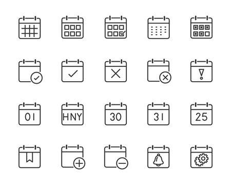 set of time relation vector line icon, such as calendar2019, reminder, day, year, event