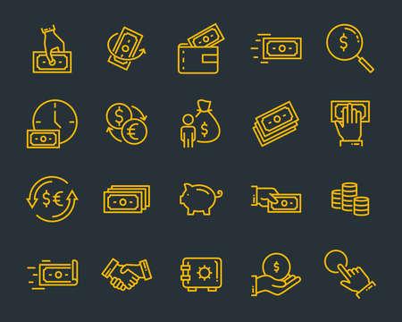 Satz von Geldliniensymbolen wie Währung, Finanzen, Digital, Prozent Vektorgrafik