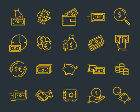 zestaw ikon linii pieniędzy, takich jak waluty, finanse, cyfrowe, procent Ilustracje wektorowe