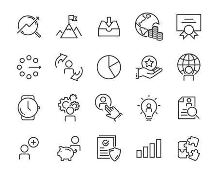 set of work icons, such as working, career, job, search, person, recruitment and more Stock Illustratie