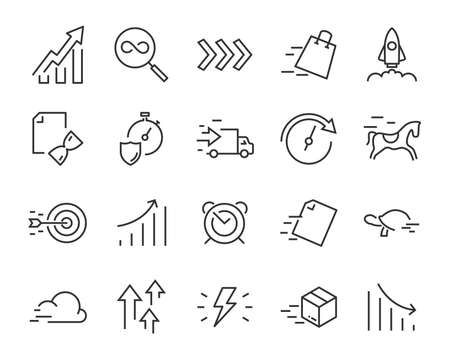 simple set of vector line icons, contain such lcon as speed, agile, boost, process, time and more 版權商用圖片 - 127490330