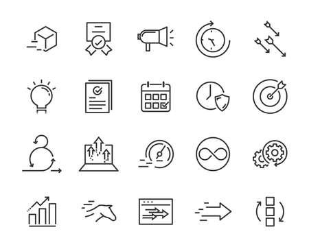 ensemble simple d'icônes de lignes vectorielles, contenant des icônes telles que la vitesse, l'agilité, l'accélération, le processus, le temps, etc.