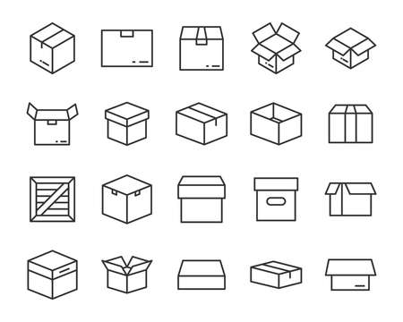 set of send box icons Illusztráció