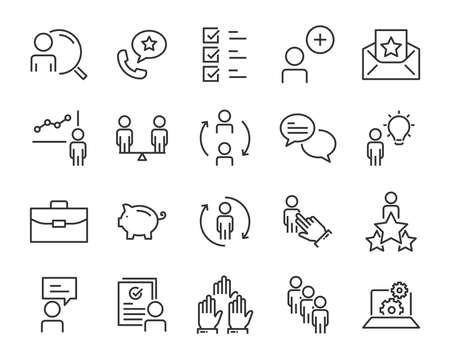 set of work icons, such as job, search, business, training, skills Illusztráció